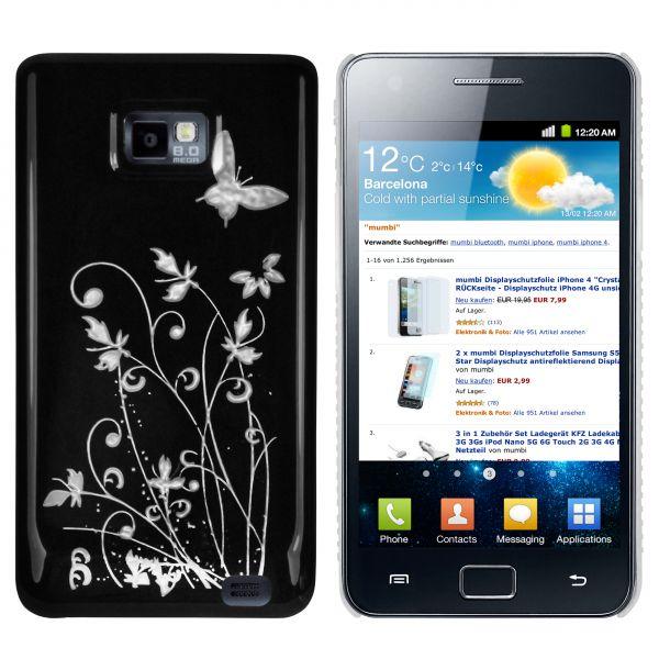 Hard Case Hülle schwarz Schmetterling Blumen für Samsung Galaxy S2 / S2 Plus