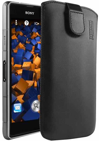 Leder Etui Tasche mit Ausziehlasche schwarz für Sony Xperia Z1 Compact