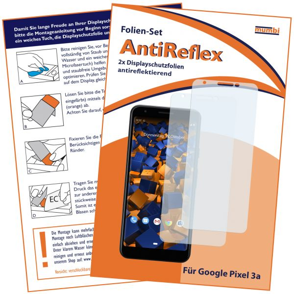 Displayschutzfolie 2 Stck. AntiReflex für Google Pixel 3a
