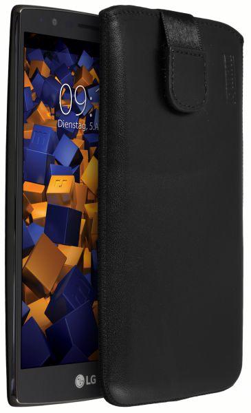 Leder Etui Tasche mit Ausziehlasche schwarz für LG G4