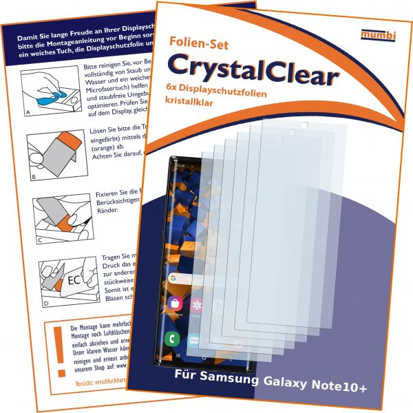 Displayschutzfolie 6 Stck. CrystalClear für Samsung Galaxy Note10 Plus