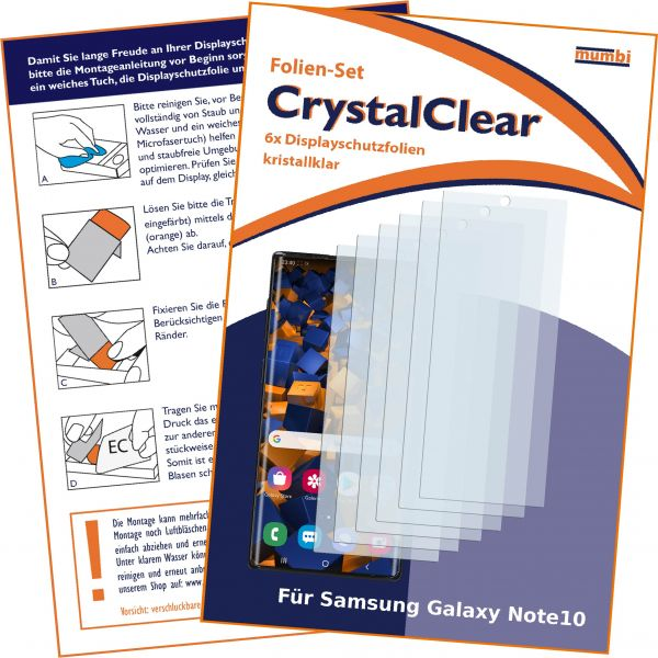Displayschutzfolie 6 Stck. CrystalClear transparent für Samsung Galaxy Note10
