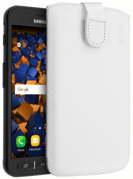 Leder Etui Tasche mit Ausziehlasche weiß für Samsung Galaxy Xcover 4