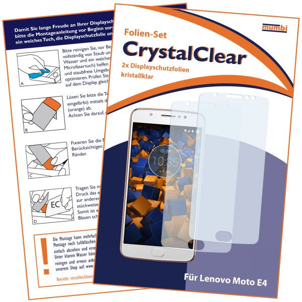 Displayschutzfolie 2 Stck. CrystalClear für Motorola Moto E4