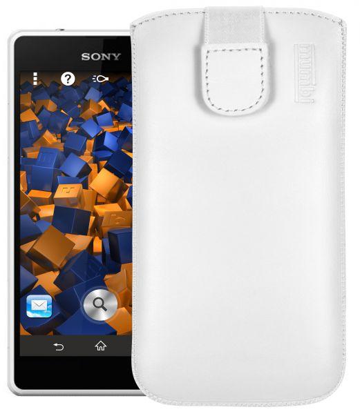 Leder Etui Tasche mit Ausziehlasche weiß für Sony Xperia Z1 Compact