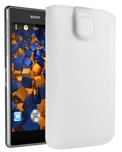 Leder Etui Tasche mit Ausziehlasche weiß für Sony Xperia Z1