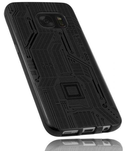 TPU Hülle schwarz Motiv Leiterbahnen für Samsung Galaxy S7