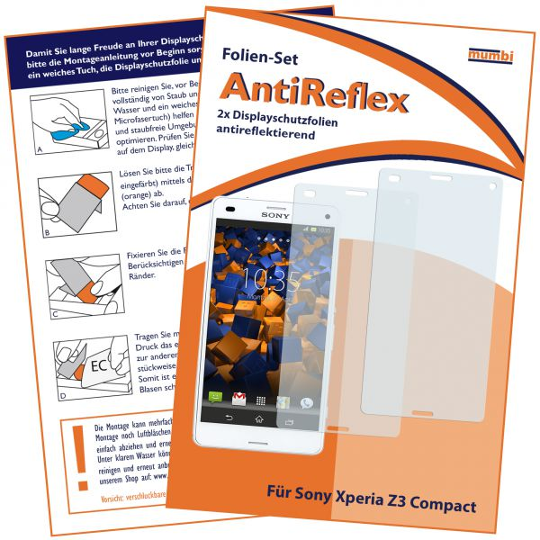 Displayschutzfolie 2 Stck. AntiReflex für Sony Xperia Z3 Compact