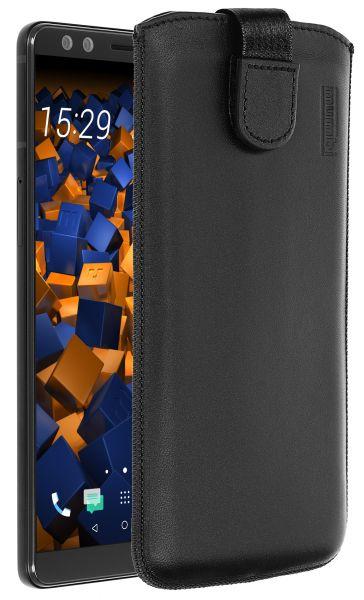 Leder Etui Tasche mit Ausziehlasche schwarz für HTC U12 Plus