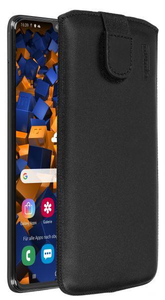 Leder Etui Tasche mit Ausziehlasche schwarz für Samsung Galaxy A70
