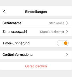 Einstellungen Timer der mumbi WLAN-Steckdosen App