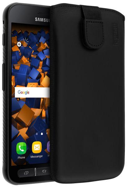Leder Etui Tasche mit Ausziehlasche schwarz für Samsung Galaxy Xcover 4 / 4s