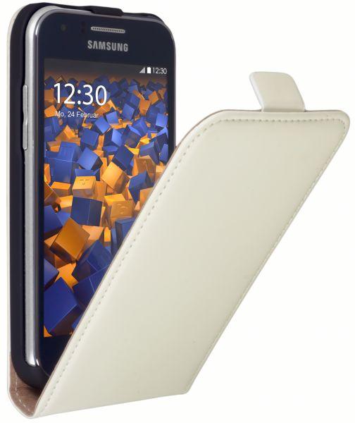 Flip Case Tasche weiß für Samsung Galaxy J1 (2015)
