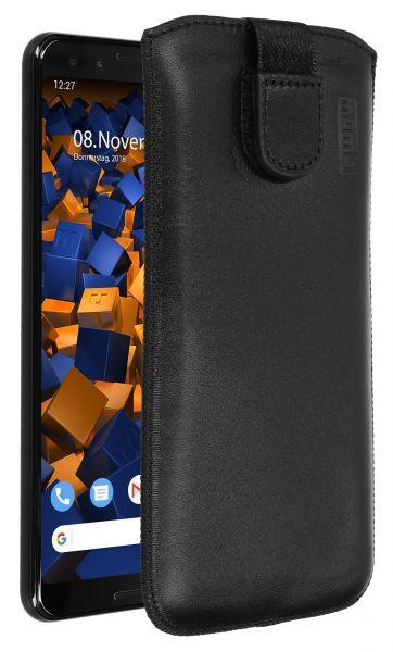 Leder Etui Tasche mit Ausziehlasche schwarz für Google Pixel 3
