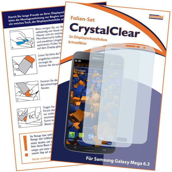 Displayschutzfolie 2 Stck. CrystalClear für Samsung Galaxy Mega 6.3