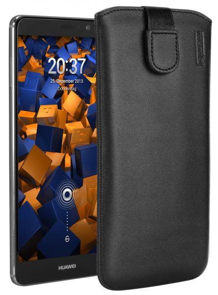 Leder Etui Tasche mit Ausziehlasche schwarz für Huawei Mate 9
