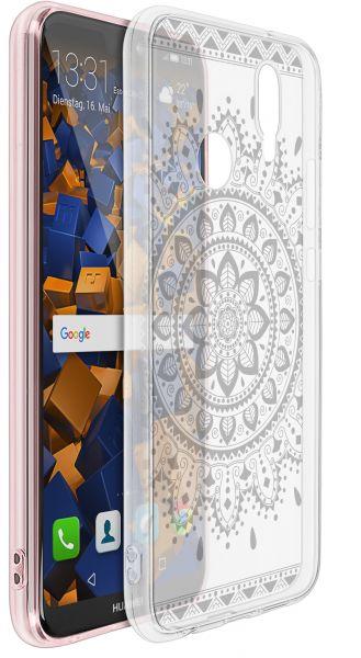 TPU Hülle Ultra Slim transparent schwarzes Motiv Mandala für Huawei P20 Lite