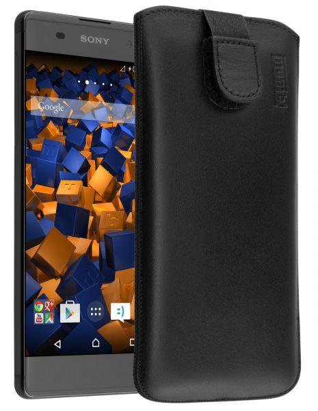 Leder Etui Tasche mit Ausziehlasche schwarz für Sony Xperia XA
