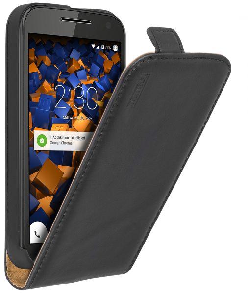Flip Case Ledertasche schwarz für Motorola Moto G 3. Generation