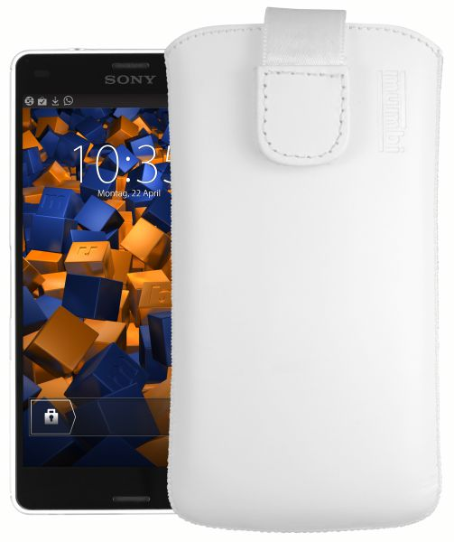 Leder Etui Tasche mit Ausziehlasche weiß für Sony Xperia Z3 Compact