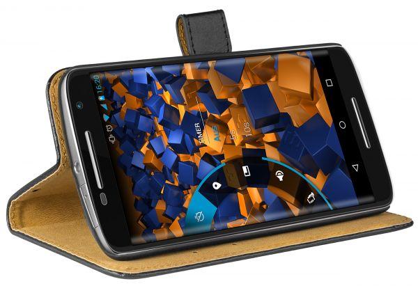 Bookstyle Ledertasche schwarz für Motorola Moto X Play