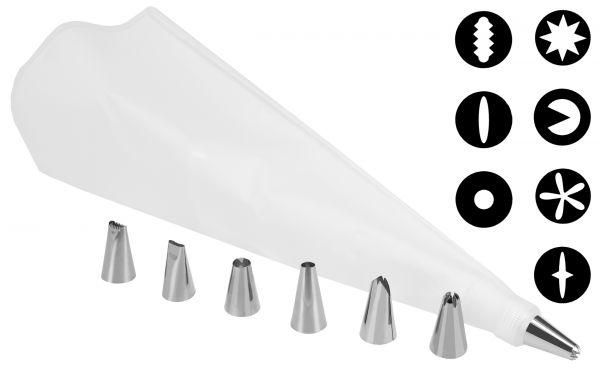 Spritzbeutel-Set mit 7 Edelstahl-Spritztüllen