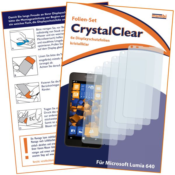 Displayschutzfolie 6 Stck. CrystalClear für Microsoft Lumia 640