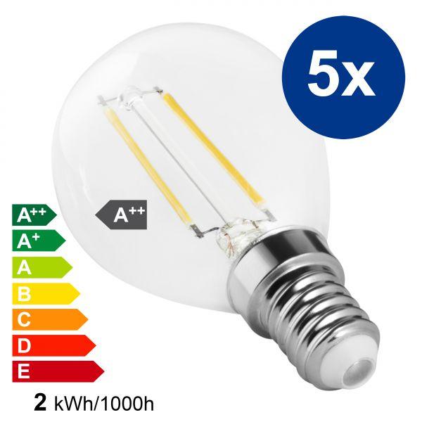 XQLite LED Lampe E14 5 Stck. 2W 2700 Kelvin warmweiß 200 Lumen Energieklasse A++