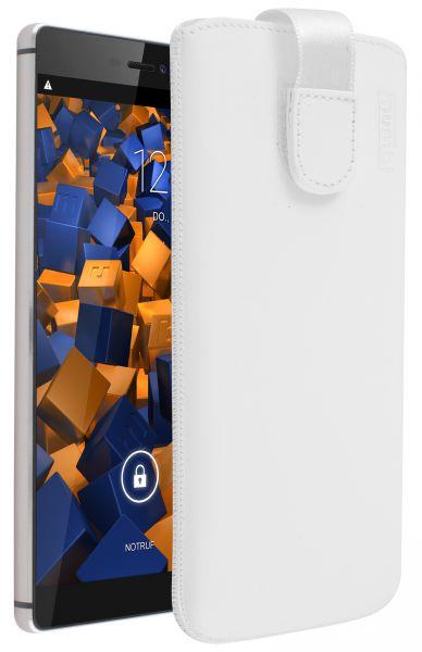 Leder Etui Tasche mit Ausziehlasche weiß für Huawei P8