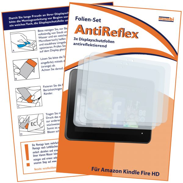 Displayschutzfolie 3 Stck. AntiReflex für Amazon Kindle Fire HD 7 (Modell 2012)