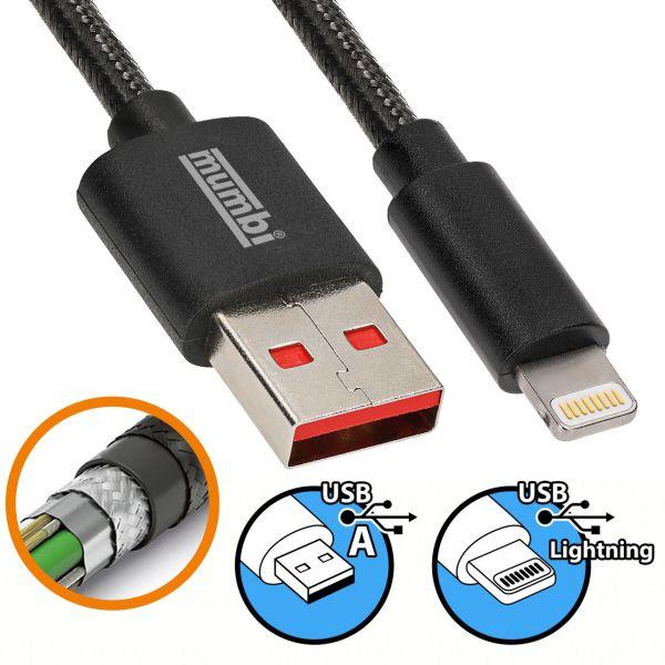 Daten- und Ladekabel Black Line 1,5m USB A auf Lightning Stecker Nylonschutz