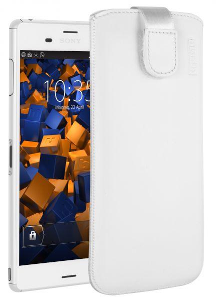 Leder Etui Tasche mit Ausziehlasche weiß für Sony Xperia Z3 / Z3 Dual