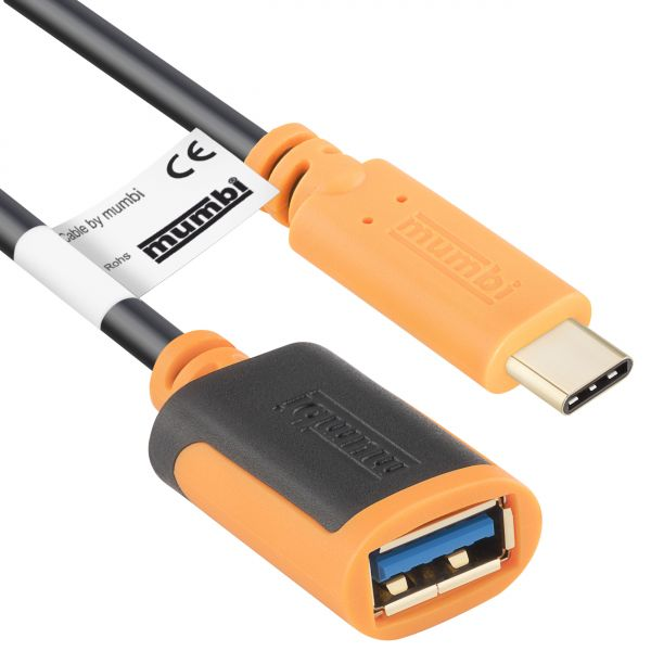 On-The-Go (OTG) USB 3.1 Daten- und Ladekabel - USB C Stecker auf USB A 3.0 Buchse - 20 cm