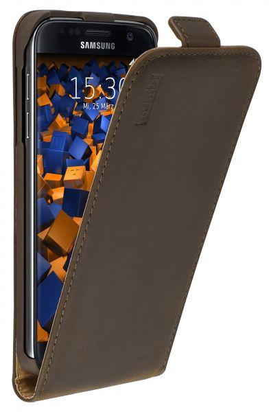 Flip Case Ledertasche Vintage braun für Samsung Galaxy S7