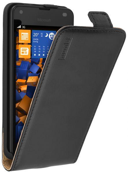 Flip Case Ledertasche schwarz für Microsoft Lumia 550
