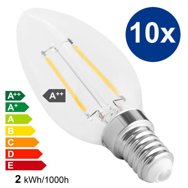 XQLite LED Kerze E14 10 Stck. 2W 2700 Kelvin warmweiß 200 Lumen Energieklasse A++