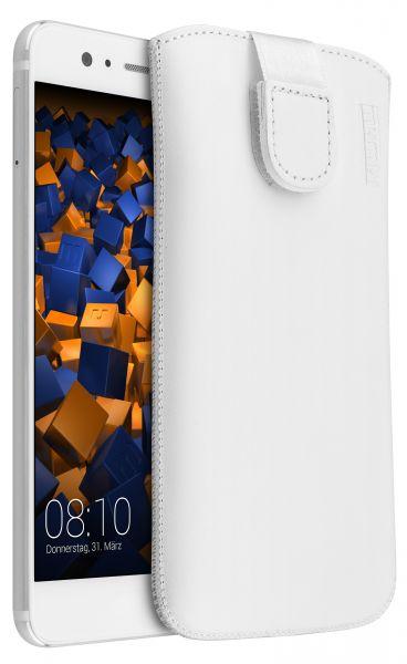 Leder Etui Tasche mit Ausziehlasche weiß für Huawei P10