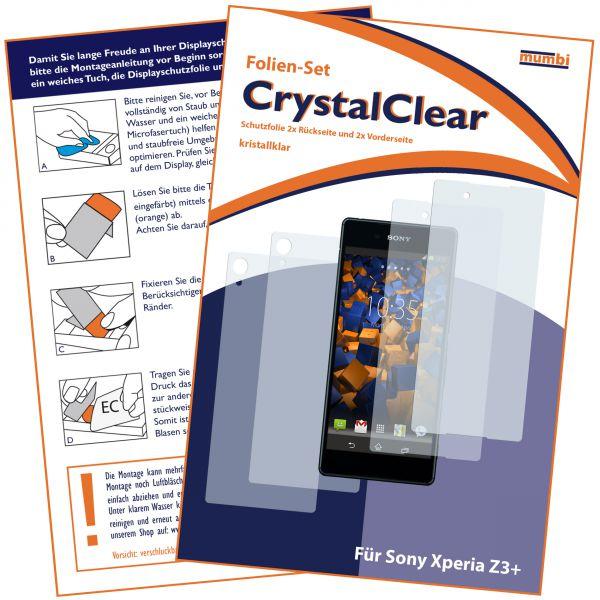 Displayschutzfolie 4 Stck. CrystalClear für Sony Xperia Z3 Plus (2x vorne und 2x hinten)