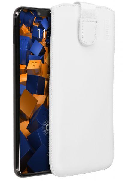 Leder Etui Tasche mit Ausziehlasche weiß für Huawei Mate 20 Lite