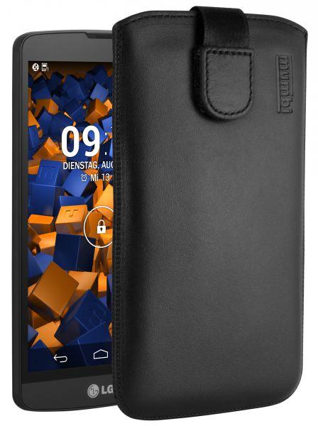 Leder Etui Tasche mit Ausziehlasche schwarz für LG L Bello