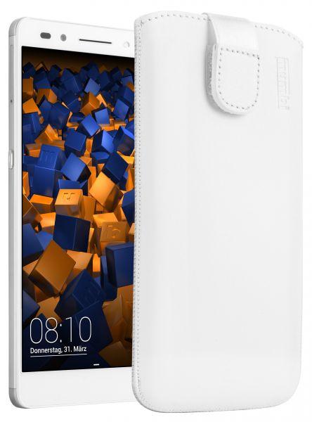 Leder Etui Tasche mit Ausziehlasche weiß für Huawei Honor 7 / Honor 7 Premium