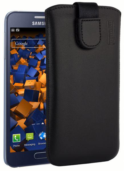 Leder Etui Tasche mit Ausziehlasche schwarz für Samsung Galaxy A3 (2015)