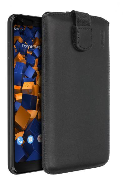 Leder Etui Tasche mit Ausziehlasche schwarz für Google Pixel 3a XL