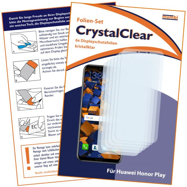 Displayschutzfolie 6 Stck. CrystalClear für Huawei Honor Play