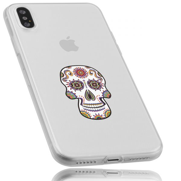 TPU Hülle Ultra Slim transparent Motiv Calavera weiß für Apple iPhone XS / X