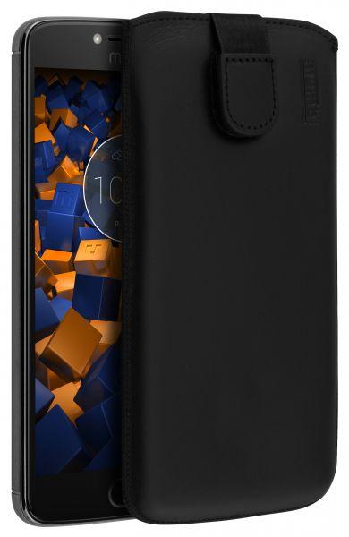 Leder Etui Tasche mit Ausziehlasche schwarz für Motorola Moto E4 Plus