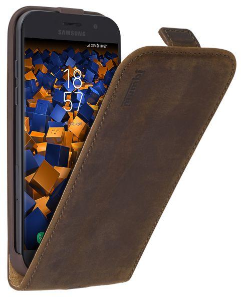 Flip Case Ledertasche braun für Samsung Galaxy A5 (2017)