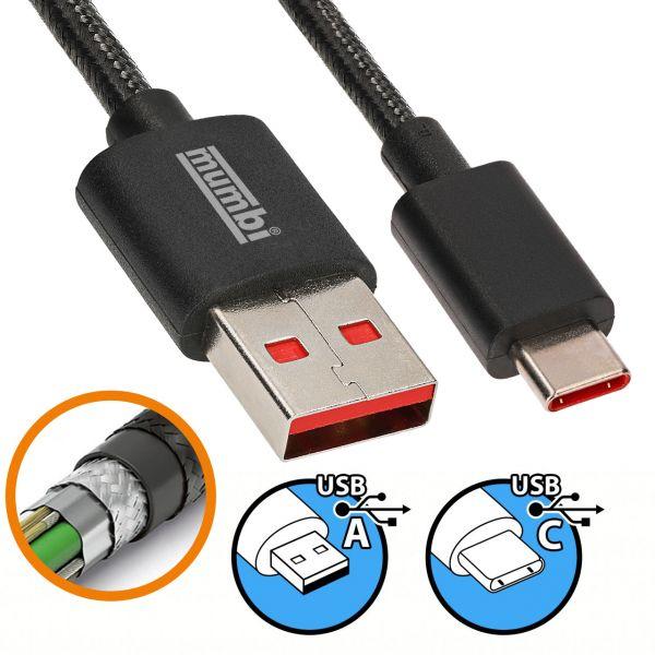 USB 3.1 Daten- und Ladekabel Black Line 2m USB A auf USB C Stecker Nylonschutz