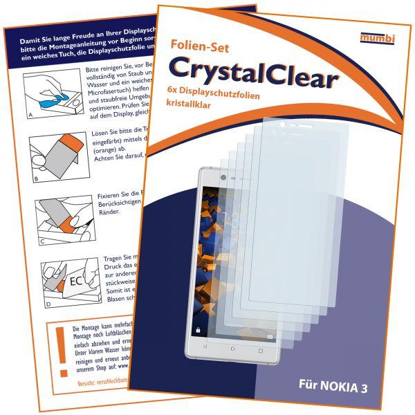 Displayschutzfolie 6 Stck. CrystalClear für Nokia 3