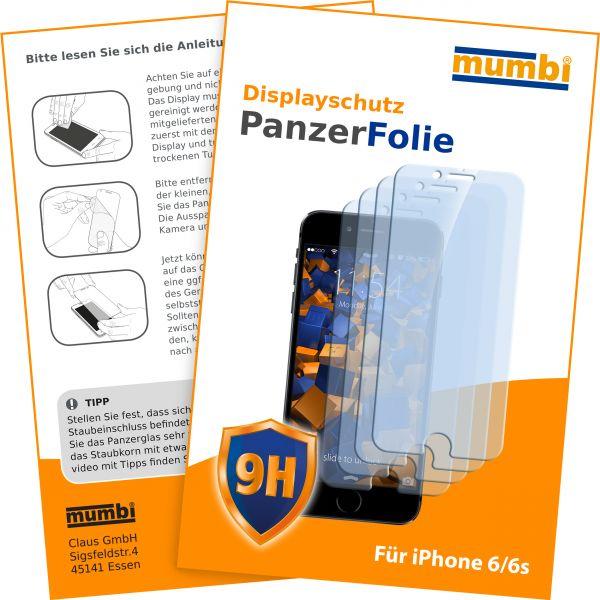 Panzerglasfolie Hartglas 9H 4 Stck. für Apple iPhone 6 / 6s